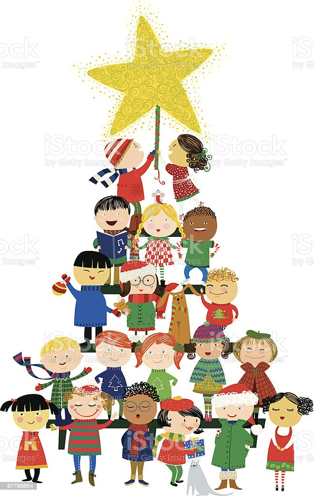 Kids Christmas tree vector art illustration