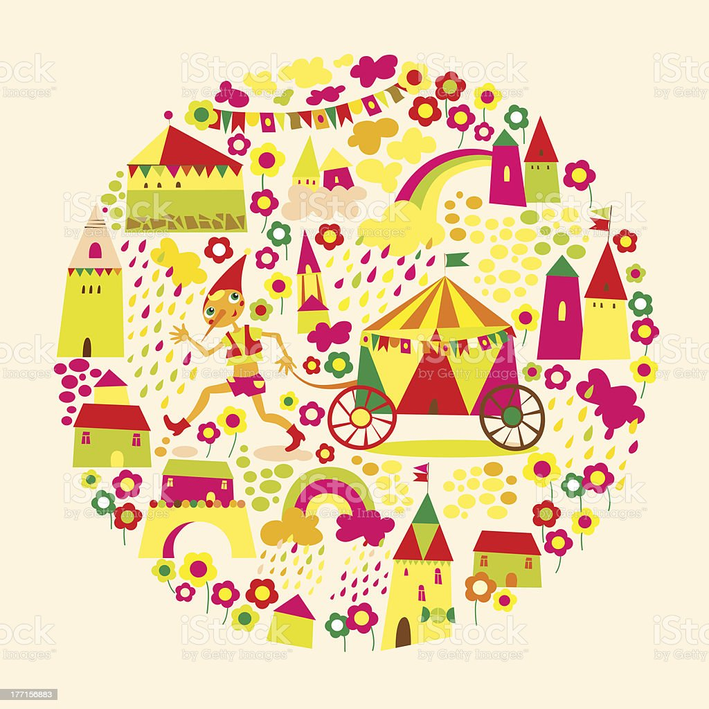 Kids circle background. Multicolored houses. royalty-free stock vector art