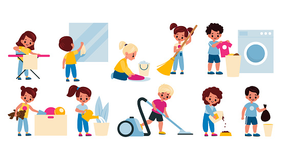 Kids cleaning home. Children housework activity. Girls and boys washing clothes, garbage taking, watering plants, vacuuming and sweeping floor. Housekeeping chores vector cartoon set