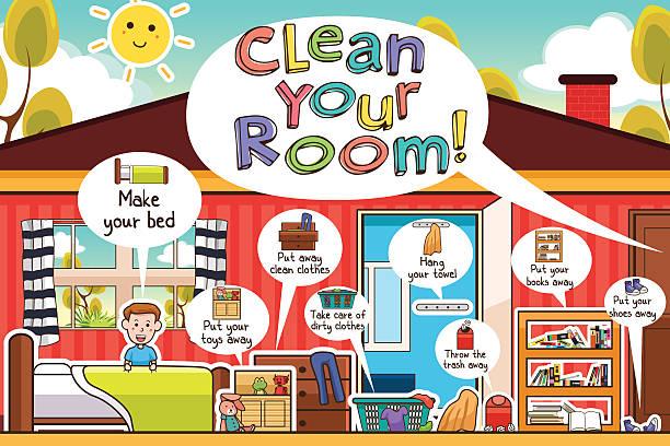 ilustraciones, imágenes clip art, dibujos animados e iconos de stock de kids cleaning room chores infographic - tareas domésticas