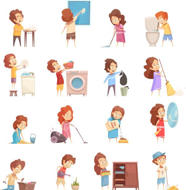 ilustrações de stock, clip art, desenhos animados e ícones de kids cleaning set - kitchen counter