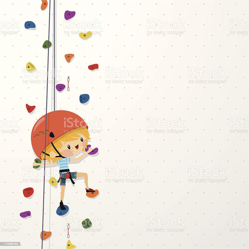 kids climb up sport boy climbing wall illustration vector vector art illustration