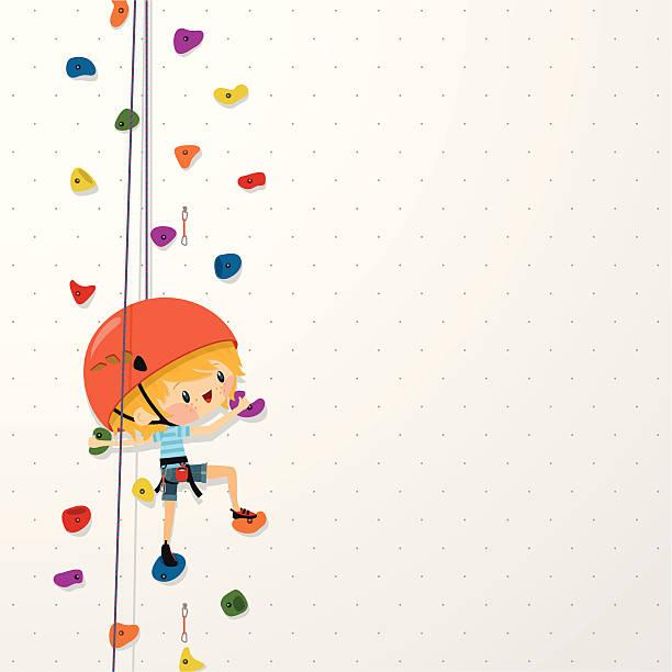 kids climb up sport boy climbing wall illustration vector - rock climbing stock illustrations, clip art, cartoons, & icons