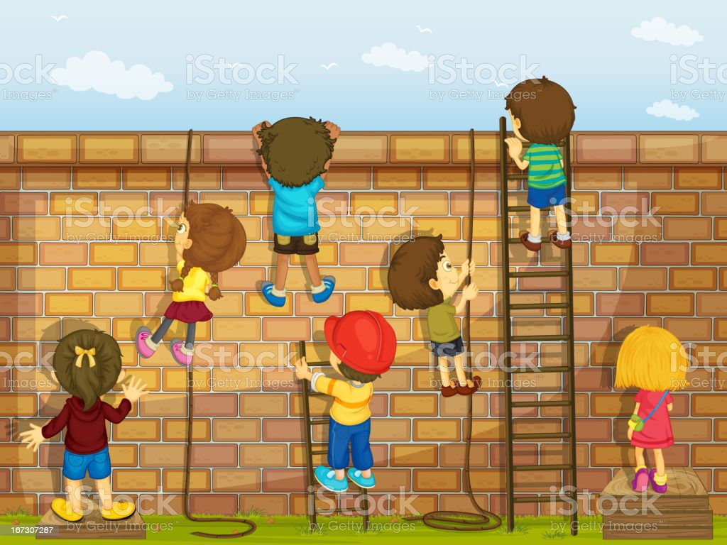 Kids climbing on a wall vector art illustration