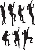 Vector silhouettes of kids climbing.