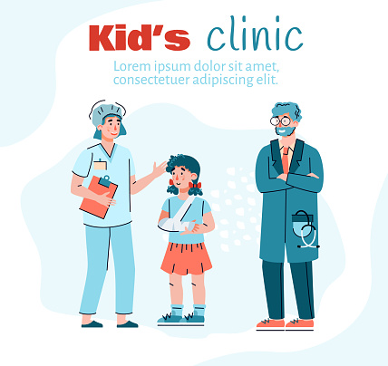 Kids clinic for patient with injuries, trauma and accident a vector illustration
