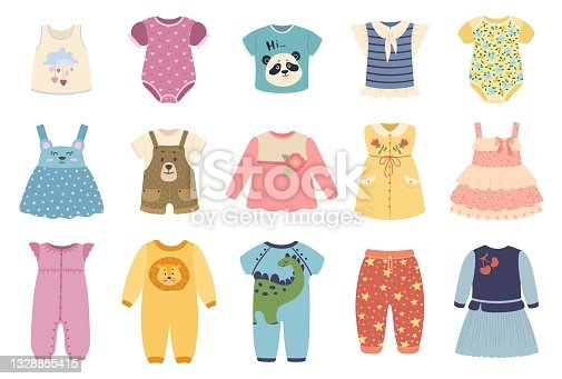 Kids clothes. Cute baby boys and girls cloth with funny patterns. Jacket, dress, skirt. Children summer fashion apparel vector set