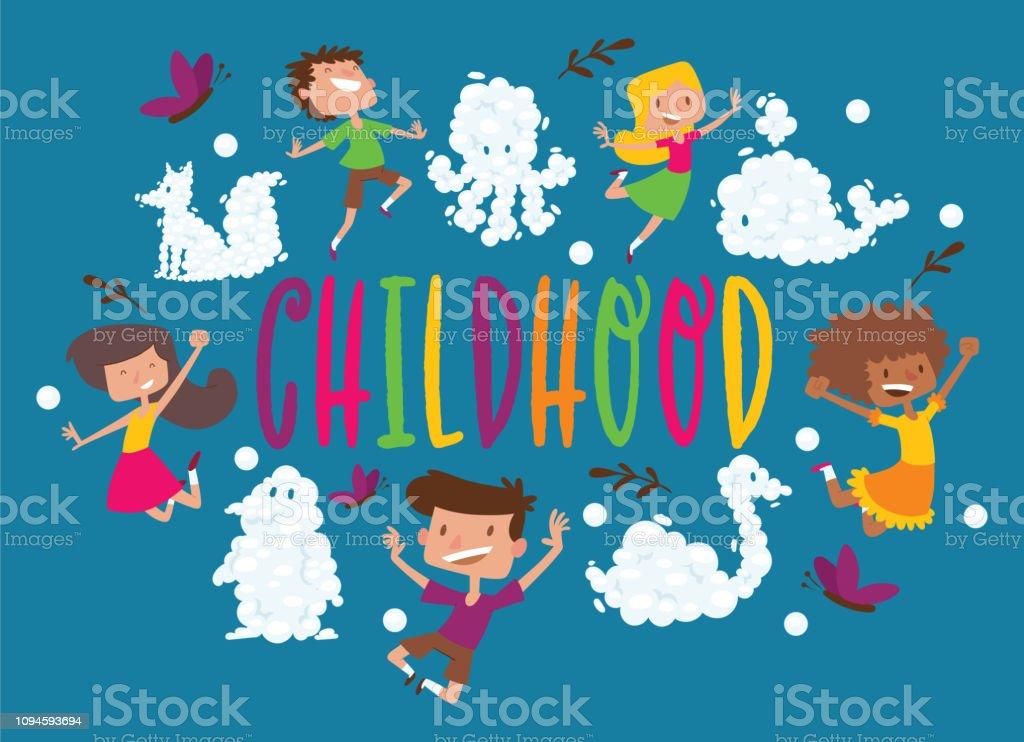 子供クラウド動物パターン ベクトル子供文字少年少女漫画動物的曇り