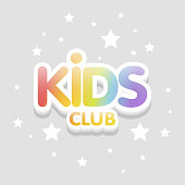Kids Club fun 3d rainbow letters in light background. Vector logo illustration template