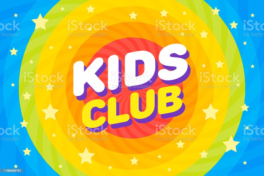 Kids Club Letter Sign Poster Vector Illustration In Rainbow Sirl