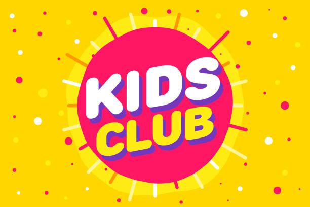 Kinder-Club-Buchstabe Zeichen Poster Vektor-Illustration in gelben Sonnenhintergrund – Vektorgrafik