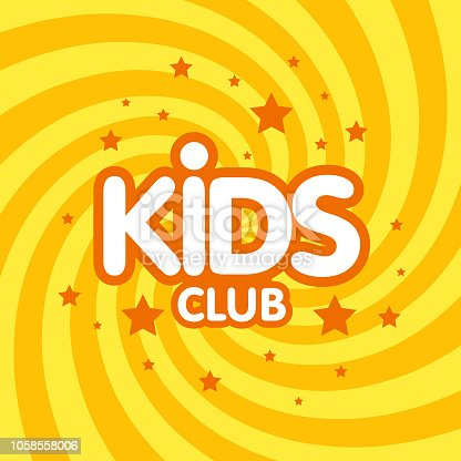 Kids club letter sign poster vector illustration.