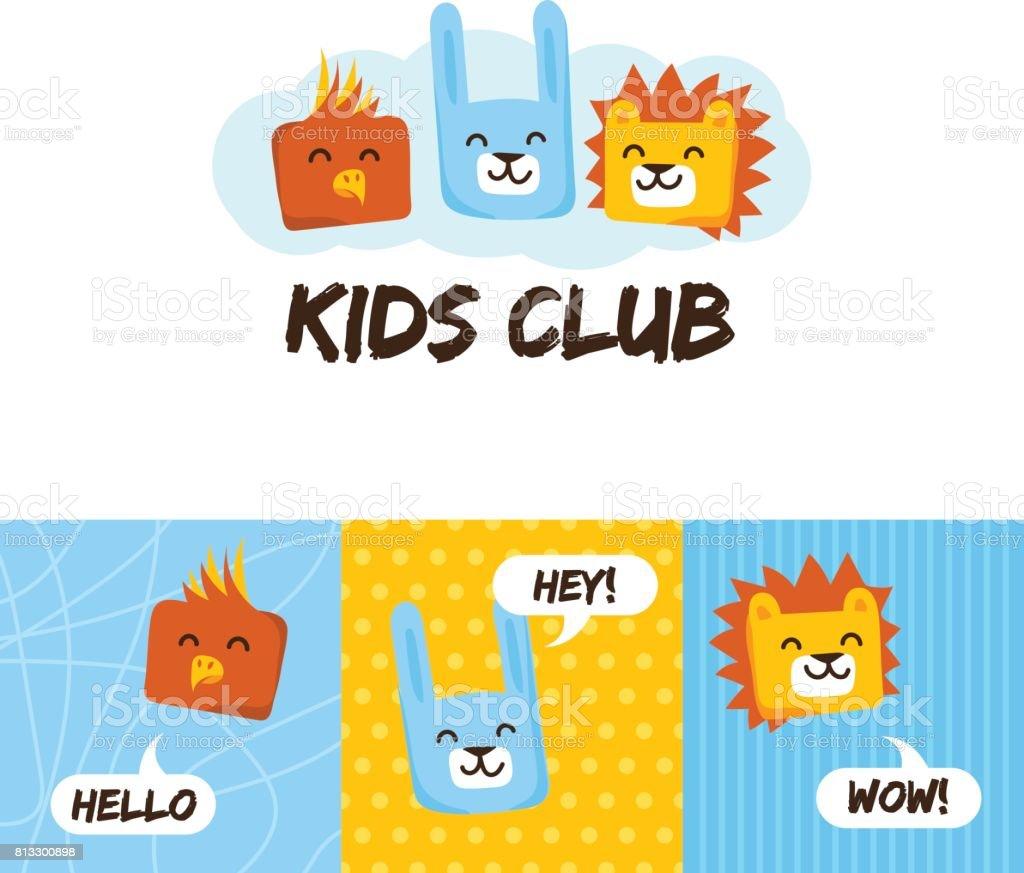 動物と子供たちのクラブ標識ですかわいい幼稚園と言語学校文字 の