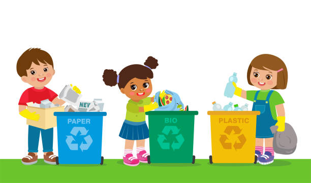 kids collect garbage for recycling. save the world. boy and girl separation recycling bin with organic, paper, plastic. - child throwing garbage stock illustrations, clip art, cartoons, & icons