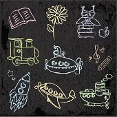 Kids color chalk drawings on a dark background.