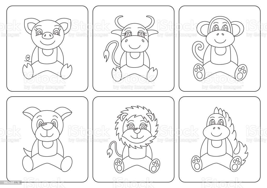 Kids Coloring Book Animals Dragon Dog Pig Monkey Ox Cow Bull Vector