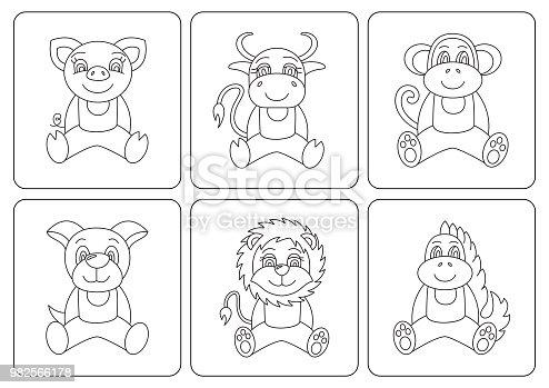Boyama Kitabı çocuklar Hayvanlar Dragon Köpek Domuz Maymun öküz Inek