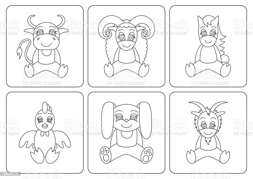 Kleurplaten Dieren Paard.Kids Kleurplaten Boek Dieren Paard Haan Konijn Geit Ox Kip Schapen