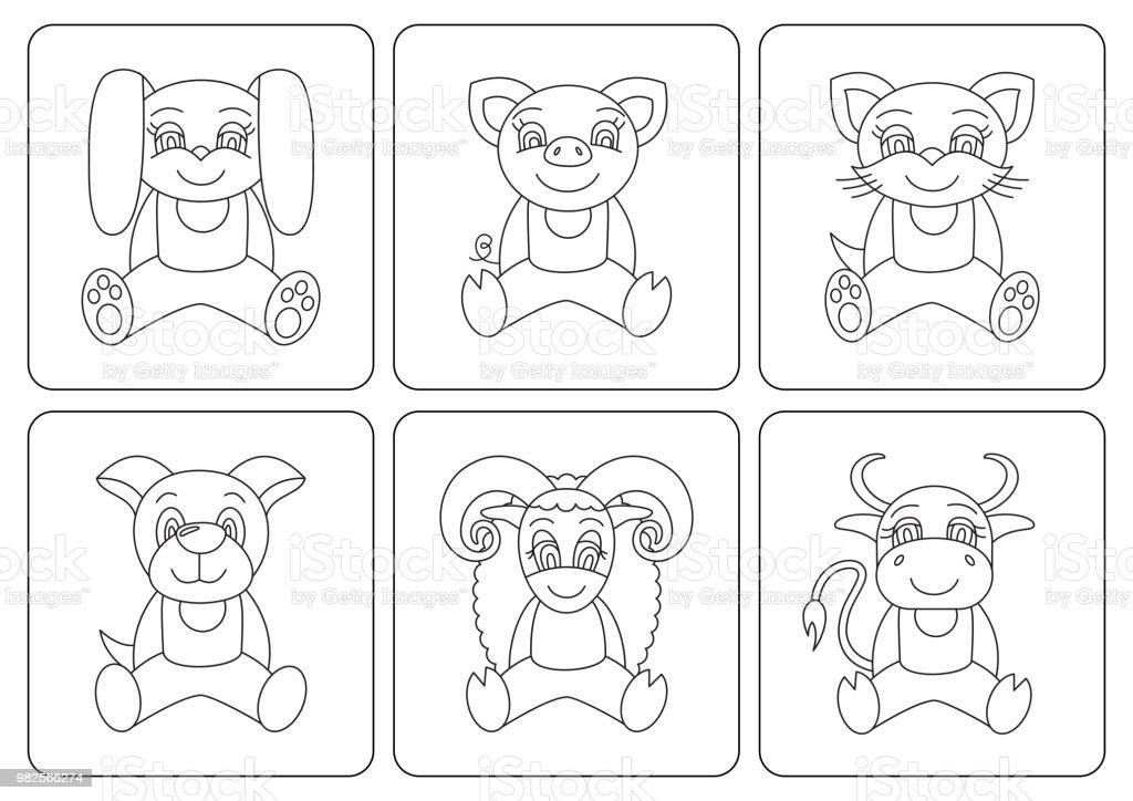 Boyama Kitabı çocuklar Hayvanlar Tavşan Domuz Kedi Köpek Koyun öküz