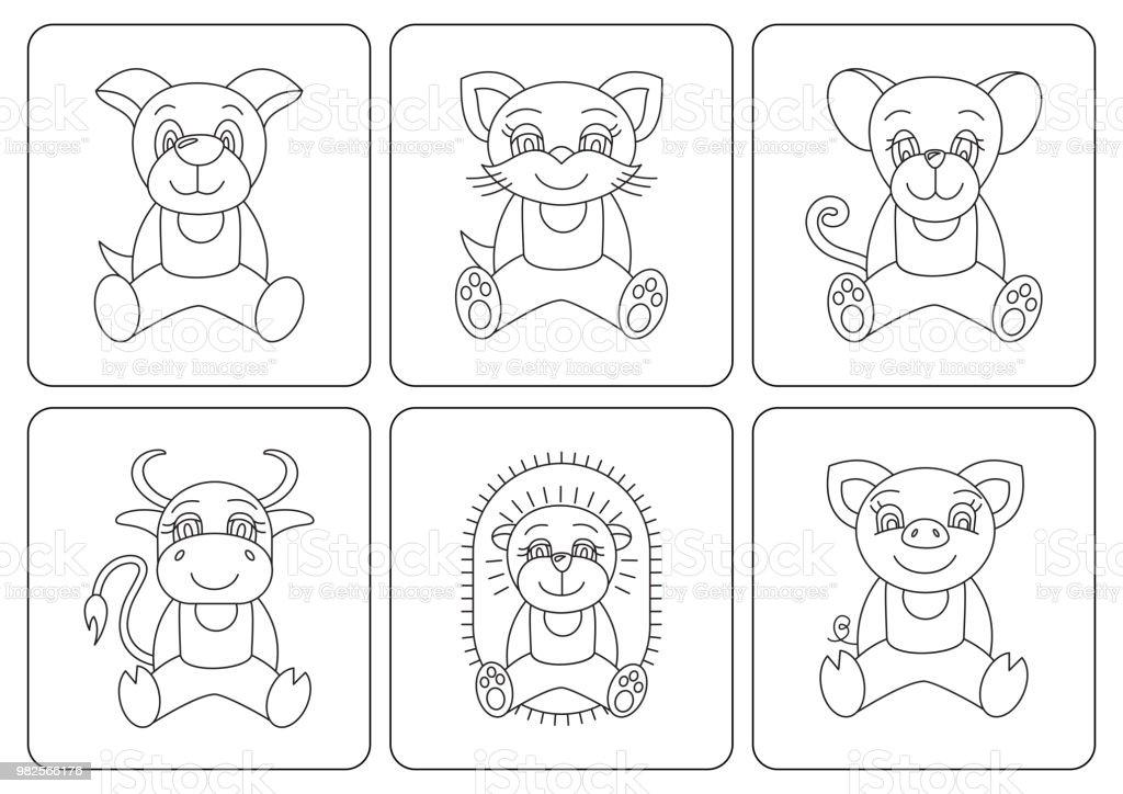 Ilustración de Libro Para Colorear A Los Niños Animales Rata Perro ...