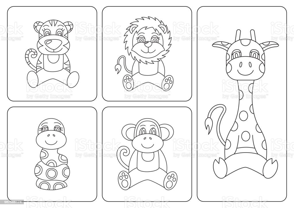 Enfants Coloriages Animaux Tigre Serpent Singe Girafe Lion Lion