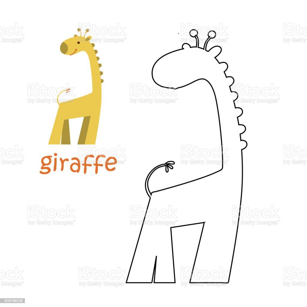 Sayfa Zürafa Boyama çocuklar Stok Vektör Sanatı Anaokulunin Daha