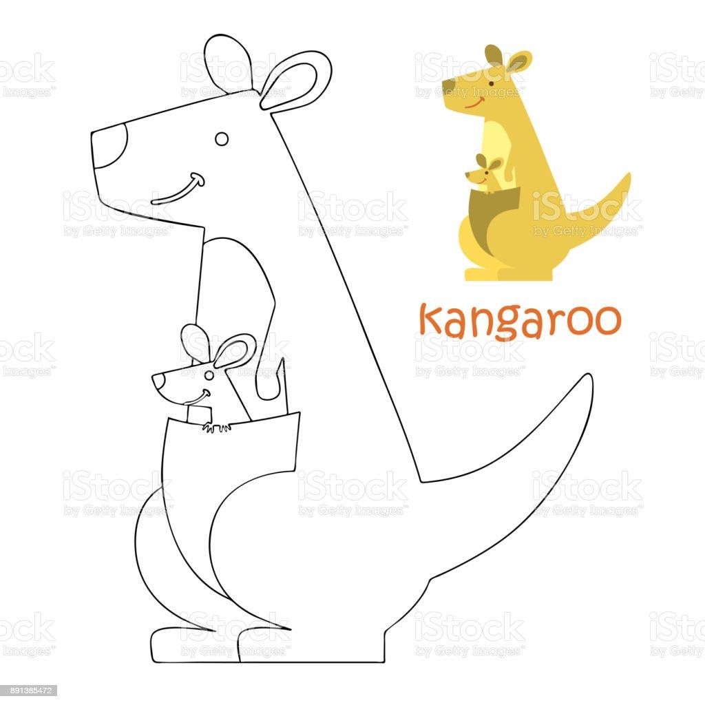 Coloriage Kangourou.Enfants Coloriage Kangourou Vecteurs Libres De Droits Et