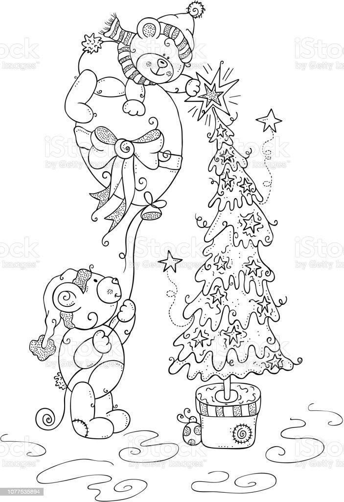 Malvorlagen Weihnachten.Kinder Malvorlagen Weihnachten Teddy Bären Stock Vektor Art Und Mehr