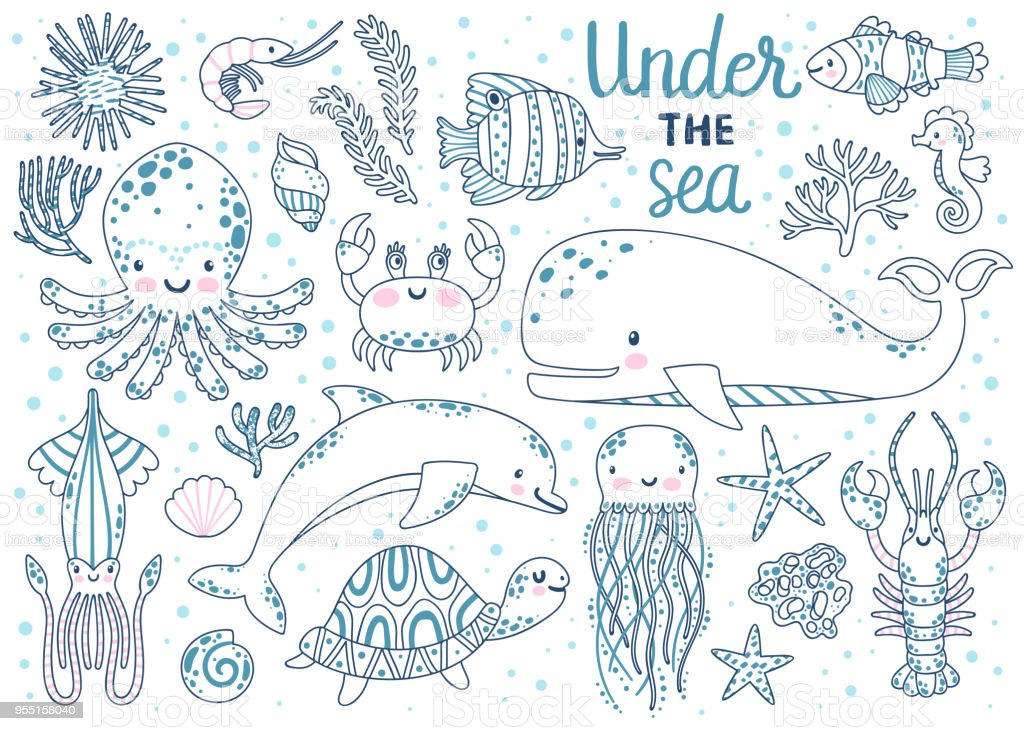 Kleurplaten Dieren Onder Water.Kids Kleurplaten Pagina Vector Set Onderwater Dieren Octopus Walvis