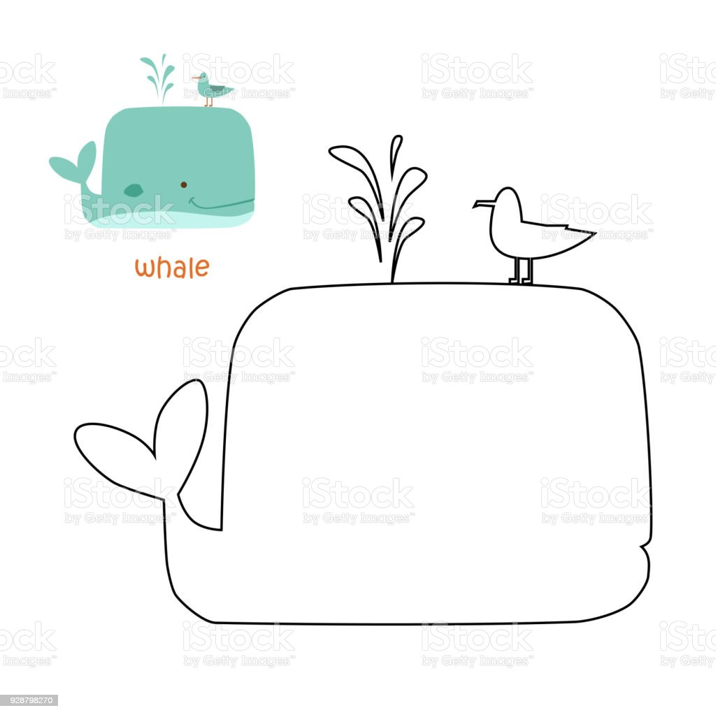 Kids Coloring Page Whale Stock Vector Art More Images Of Animal