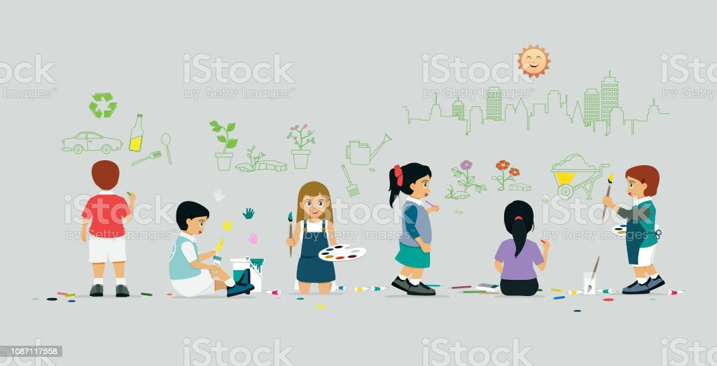 Kids Coloring Wall vector art illustration