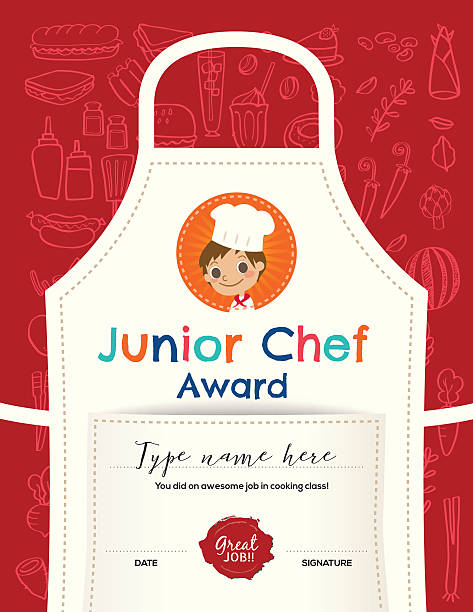 Kids Cooking class certificate design template Kids Cooking class certificate design template with junior chef cartoon illustration on kitchen apron background cooking borders stock illustrations