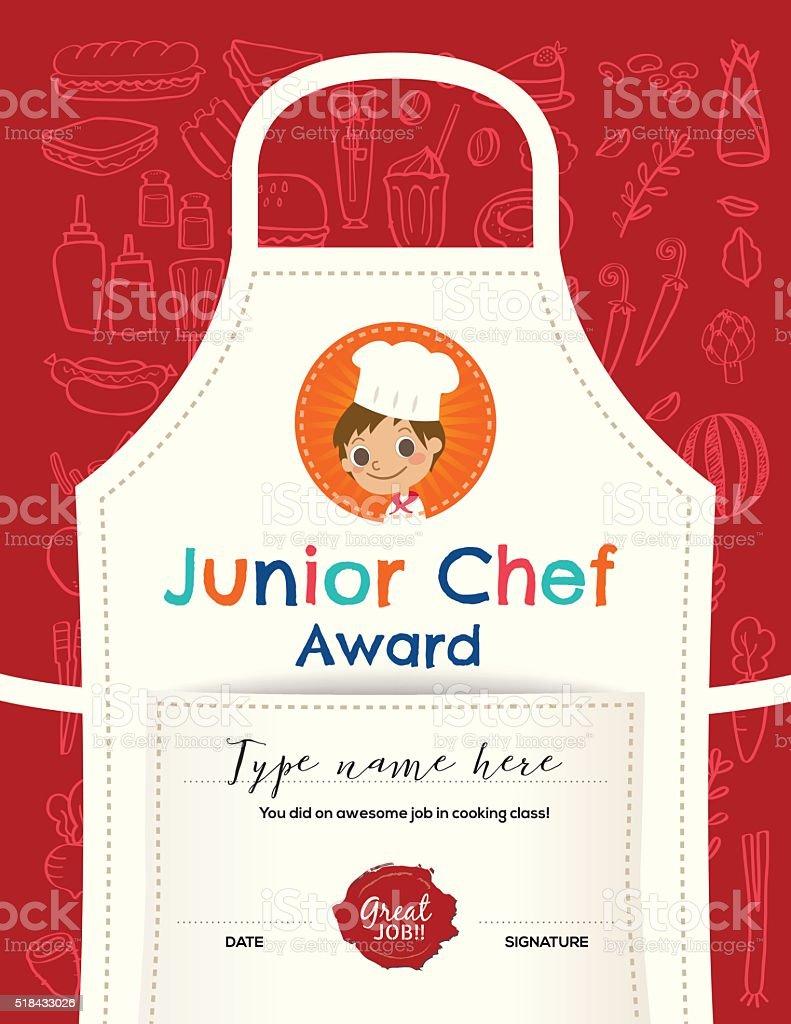 Kids Cooking class certificate design template vector art illustration