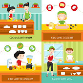 Flat design concept with kids making milkshakes and desserts, cooking and baking with mom isolated vector illustration