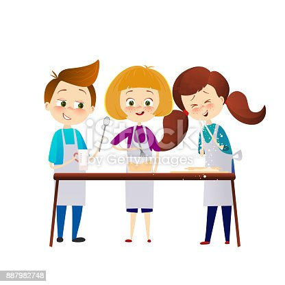 664420980 istock photo Kids cooking dinner. happy family funny child are preparing the meal, bake cookies in the kitchen, Cartoon characters. vector illustration. Cute friends. 887982748