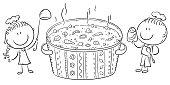 Kids cooking, healthy food or vegetarian concept, outline illustration