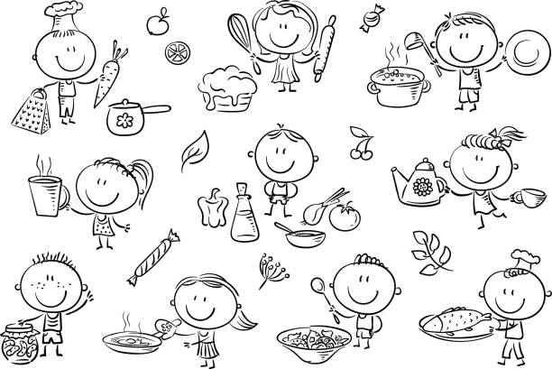 Kids Cooking Set A set ot funny sketchy kids cooking different food. cooking black and white stock illustrations