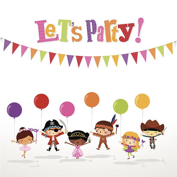 Kids costume party vector art illustration