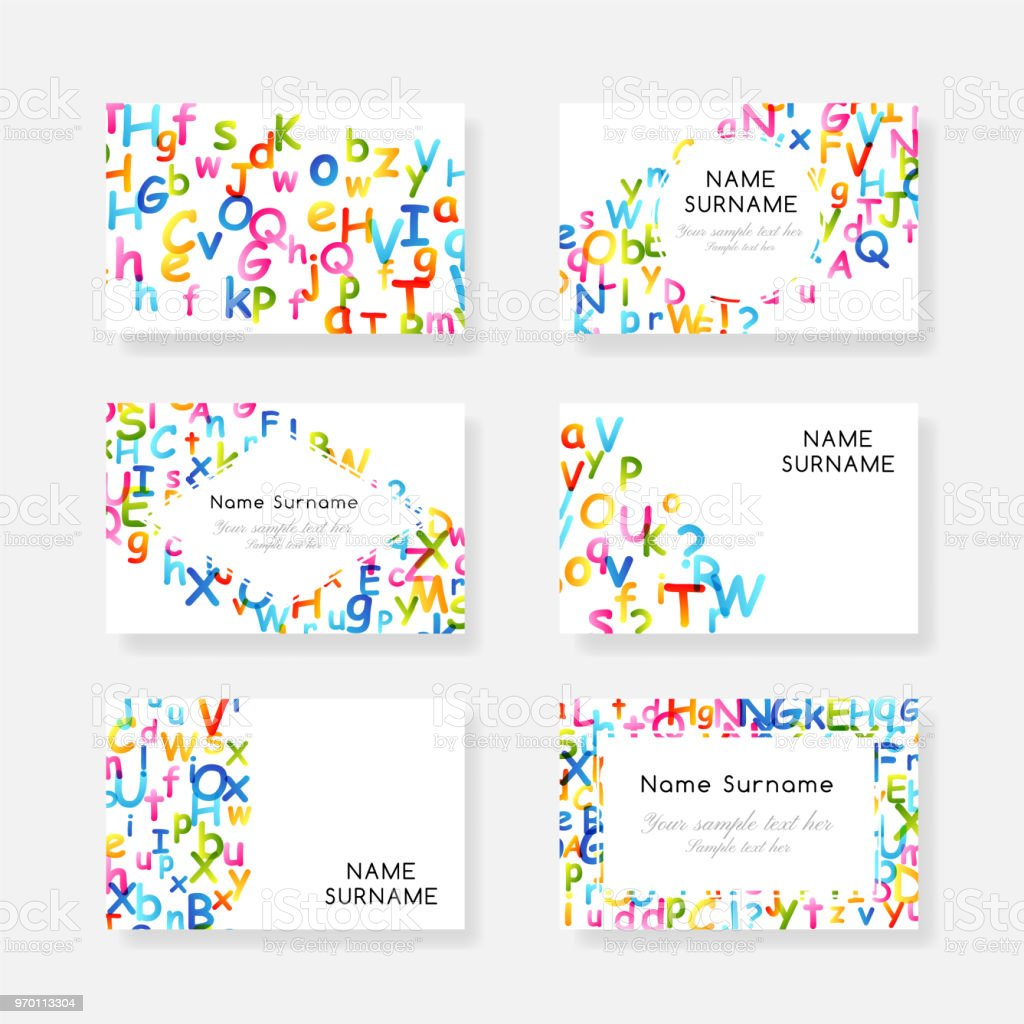 Kids Creative Education Concept Rainbow Alphabet Confetti Design