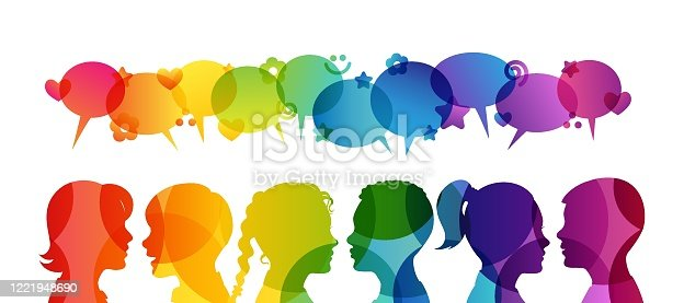istock Kids creative education. Conceptual illustration. Vector childrens silhouettes. Group of boys and girls with rainbow decoration elements. 1221948690