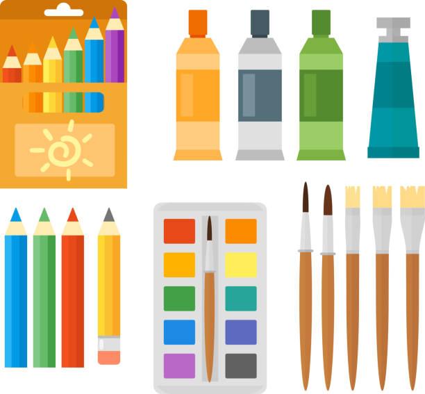 Kids creativity creation symbols vector set. vector art illustration