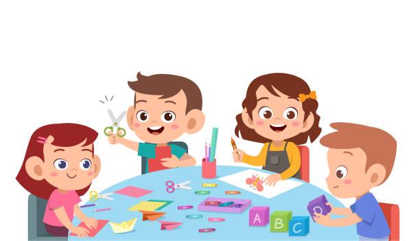 kinder schneiden farbpapier mit schere - schultischrenovierung stock-grafiken, -clipart, -cartoons und -symbole