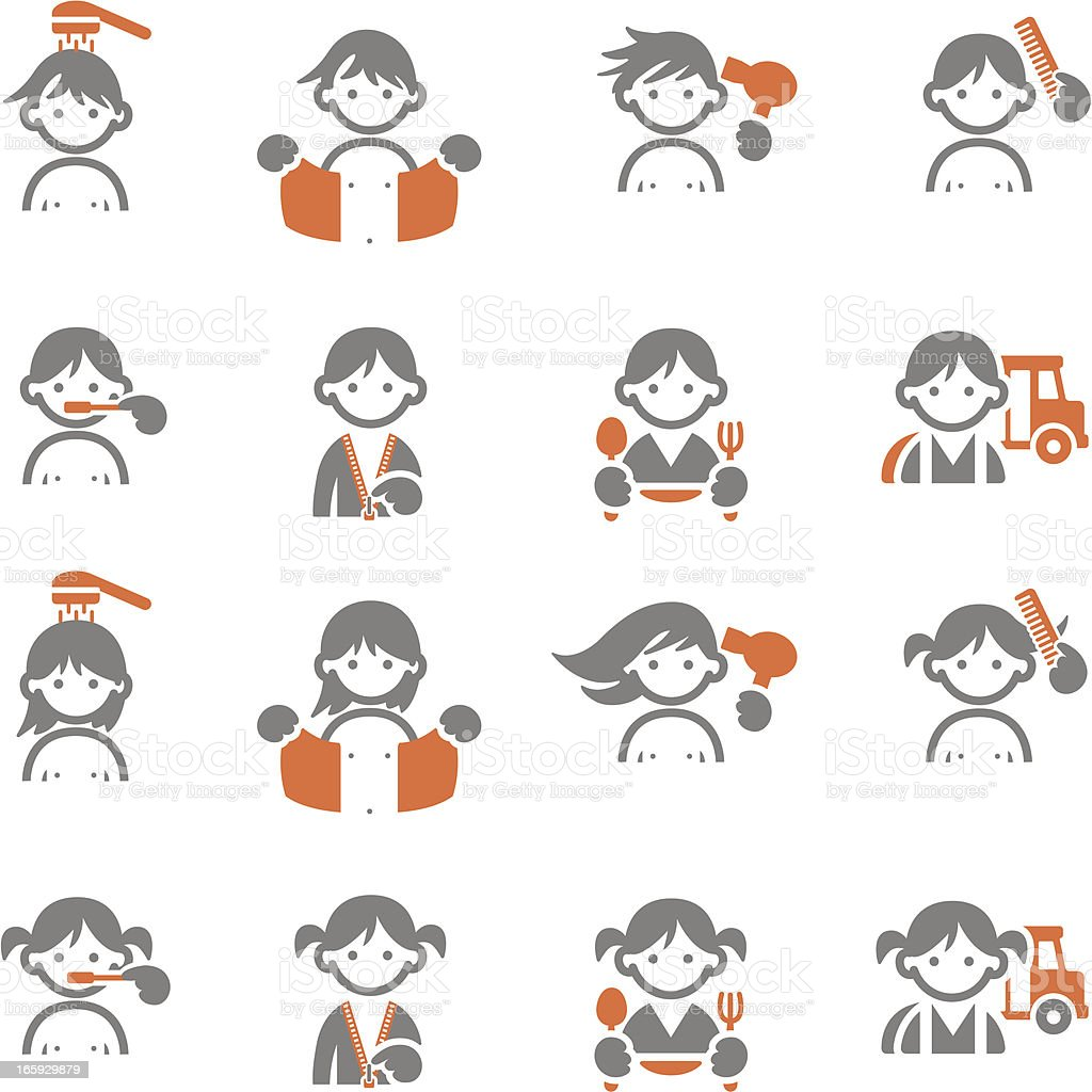 Kids Daily morning icons vector art illustration