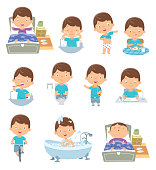 Vector kids daily routine activities
