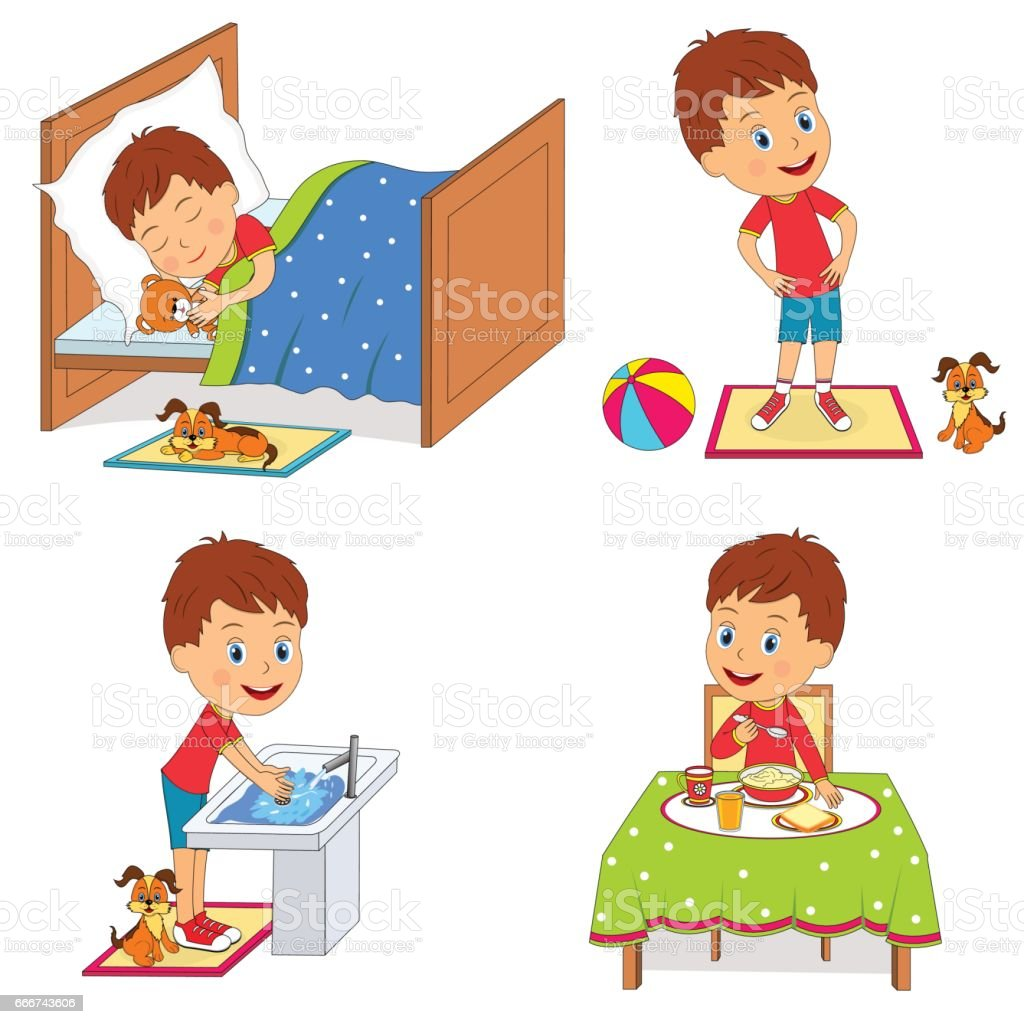 kids daily routine stock vector art more images of activity rh istockphoto com daily routine clipart black and white daily routine clipart black and white