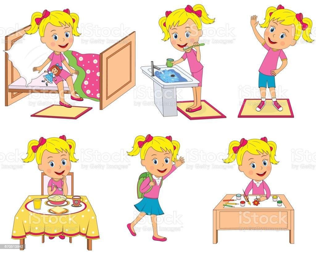 Kids Daily Routine Stock Vector Art 670513942 Istock
