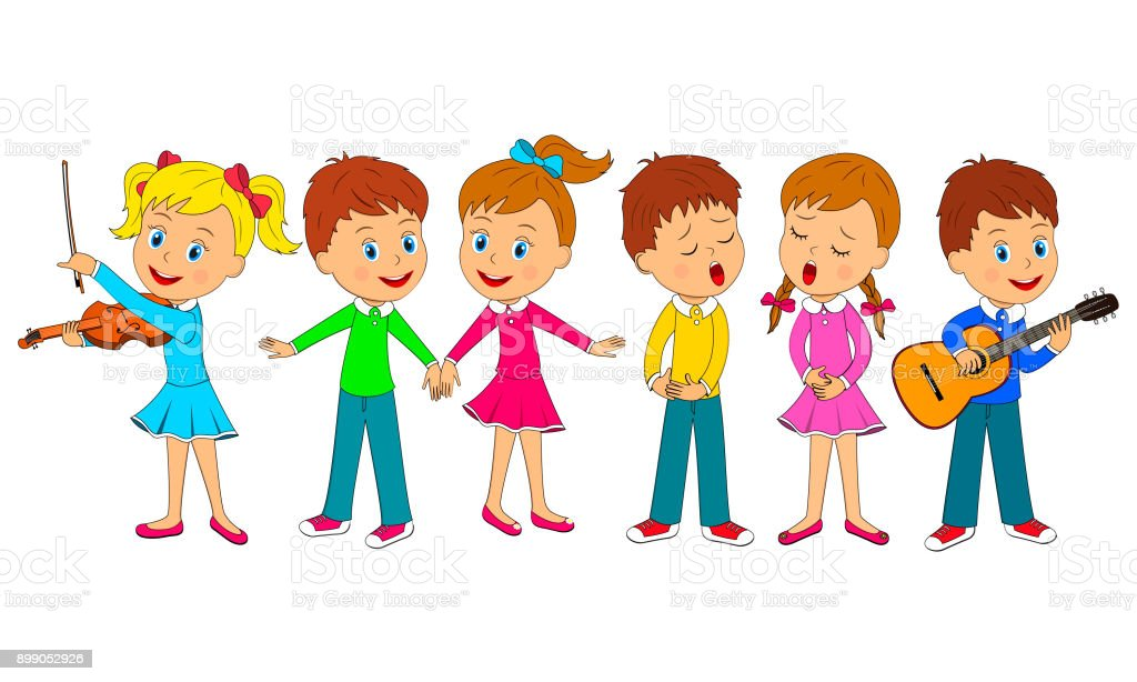 kids dance, sing and play music vector art illustration