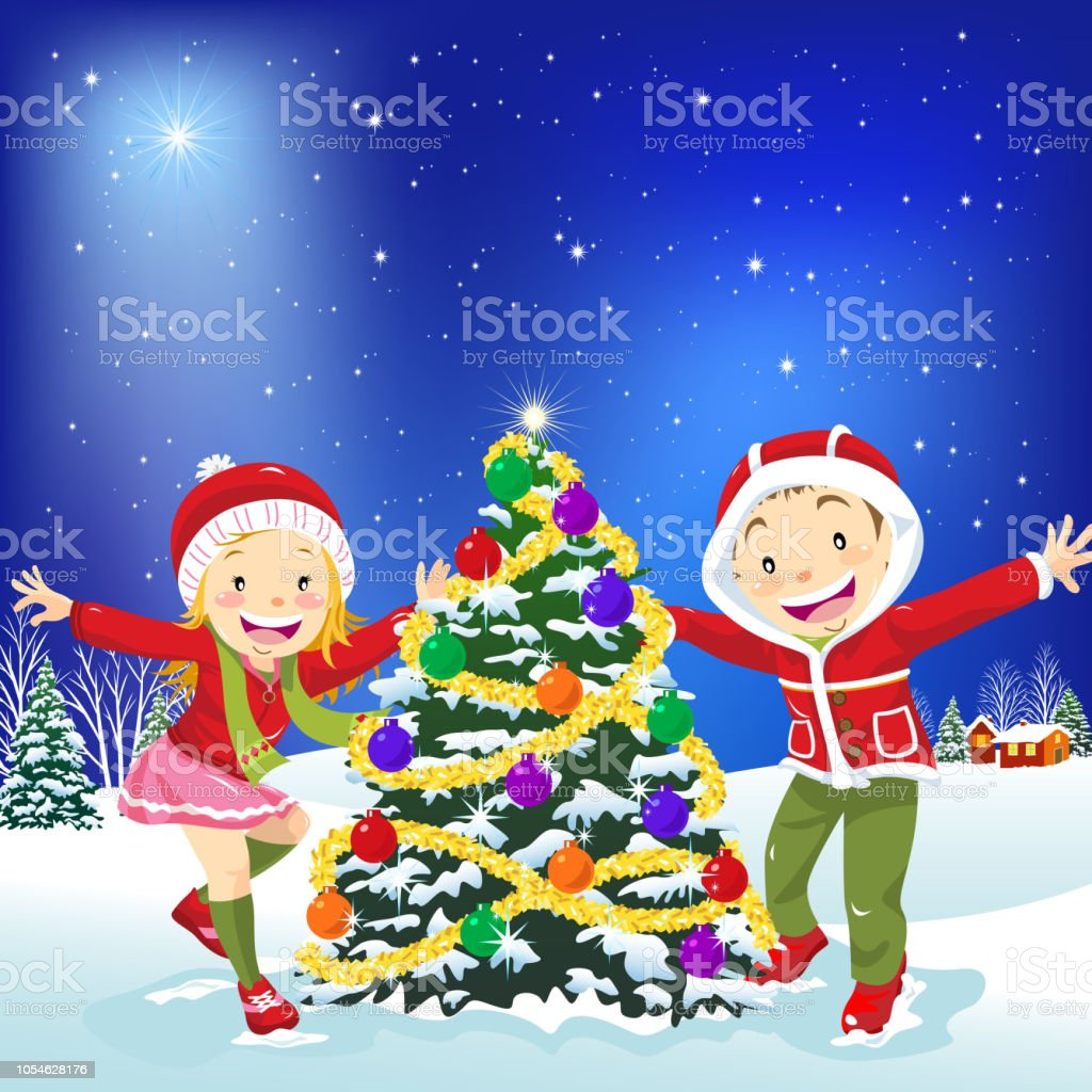 Kids Dancing Around The Christmas Tree Stock Vector Art More