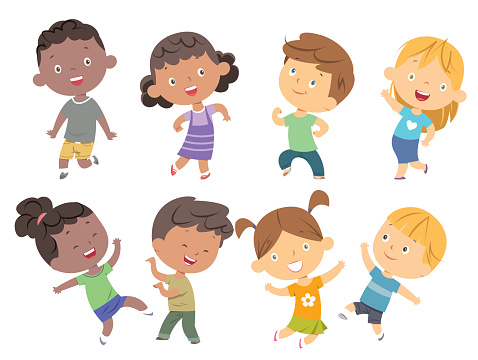 Kids dancing set clipart
