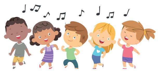 Kids dancing Vector kids dancing child singing stock illustrations